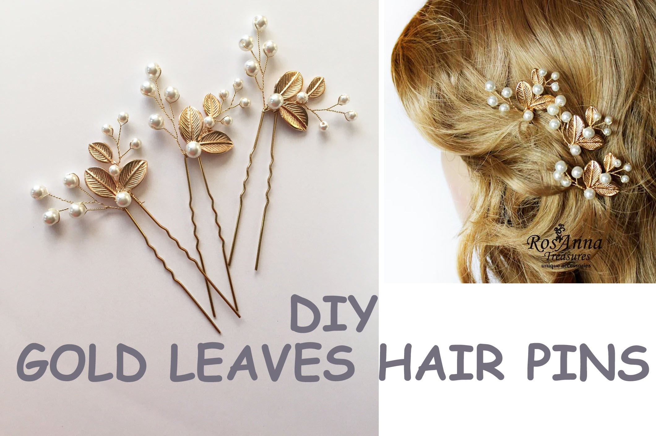 Gold hair pins archives annlace bridal hair vine gold leaves pearl hair pins diy tutorial 001 solutioingenieria Image collections