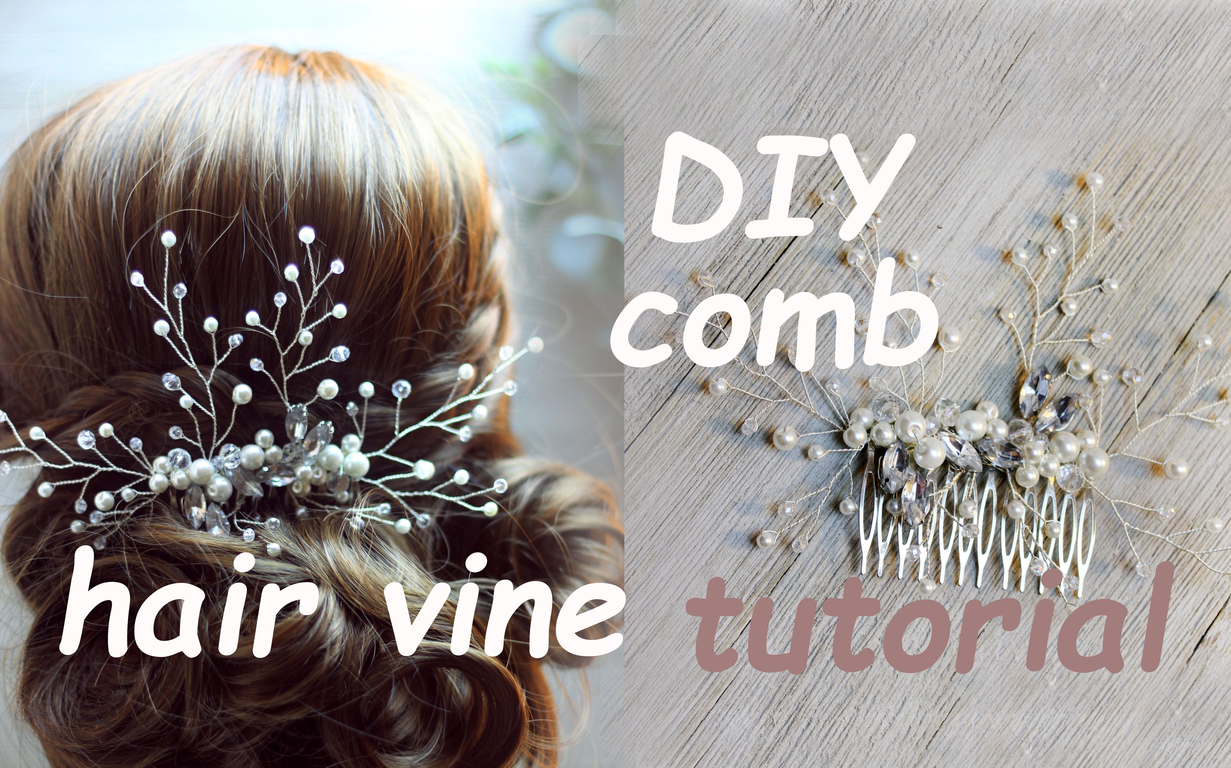 tutorial bridal hair comb hair vine pin headpiece boho chic diy gold
